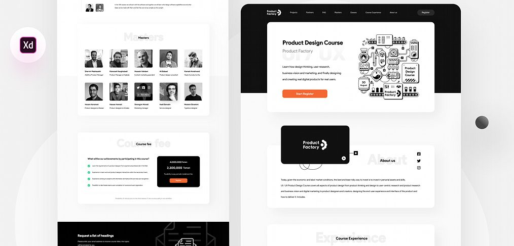 Design course landing template for XD
