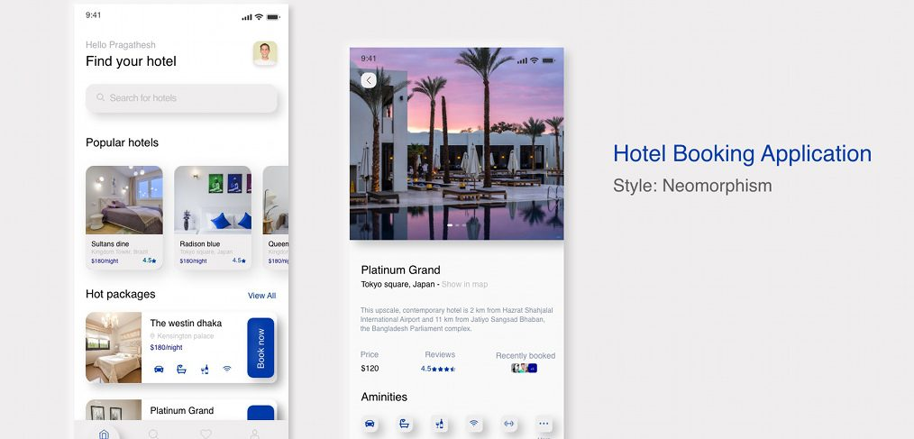 Hotel Booking Neomorphic app concept