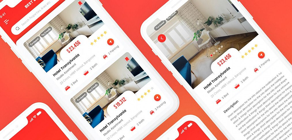 Hotel booking XD app template