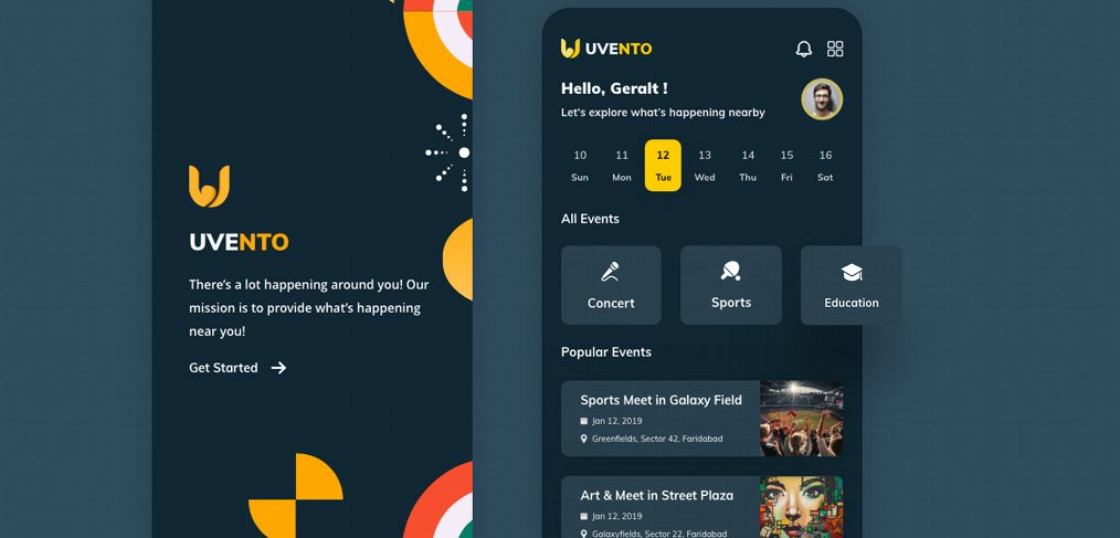 Uvento - Event app XD template