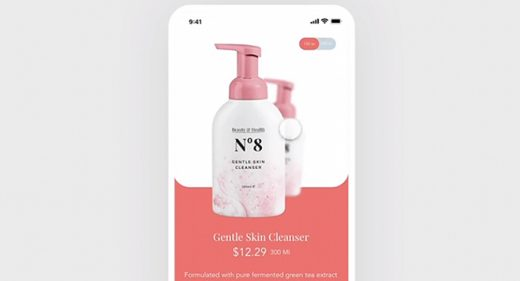 XD Beauty product screen and animation