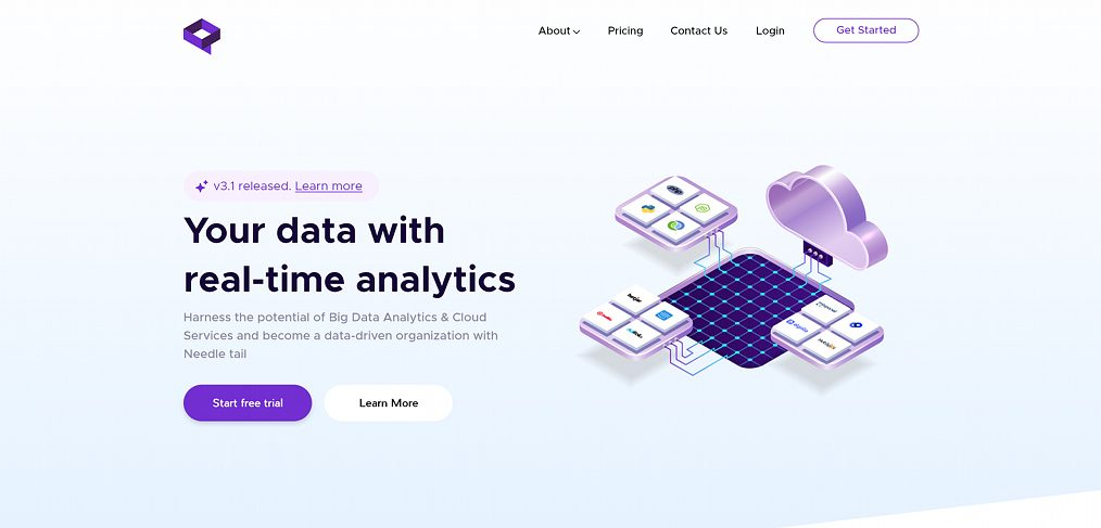Analytics company XD website template