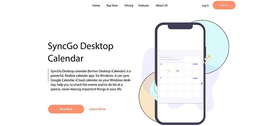 Calendar app XD landing page