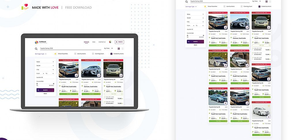 Cars classified website XD template