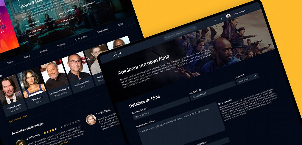 Cinema website template for XD