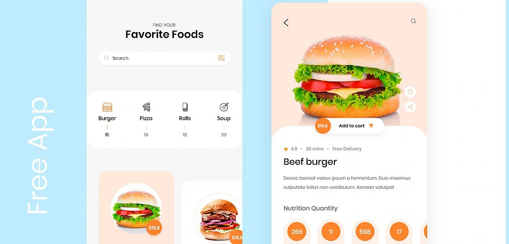 Food mobile app concept for XD