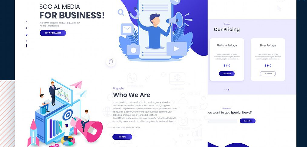 XD marketing website template