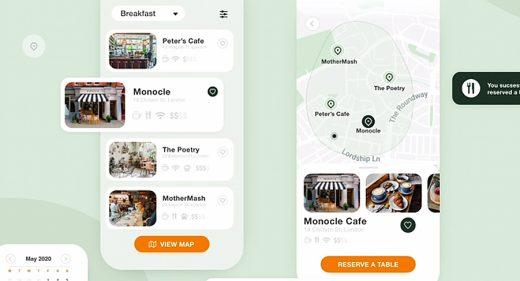 CafeFinder XD mobile app template