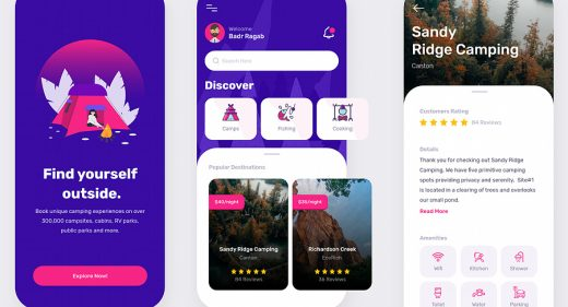 Camping app concept for XD