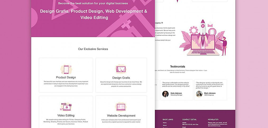 Digital agency homepage XD wireframe