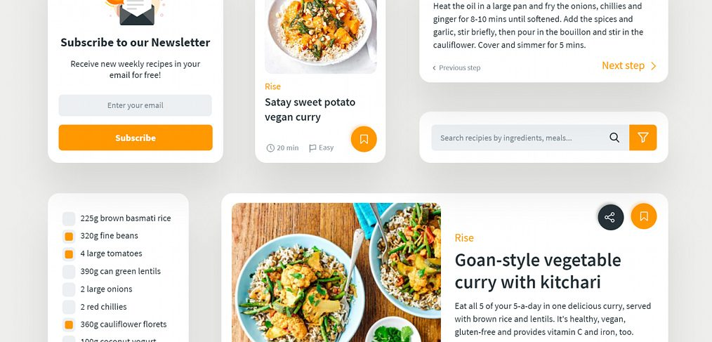 Food UI components for XD
