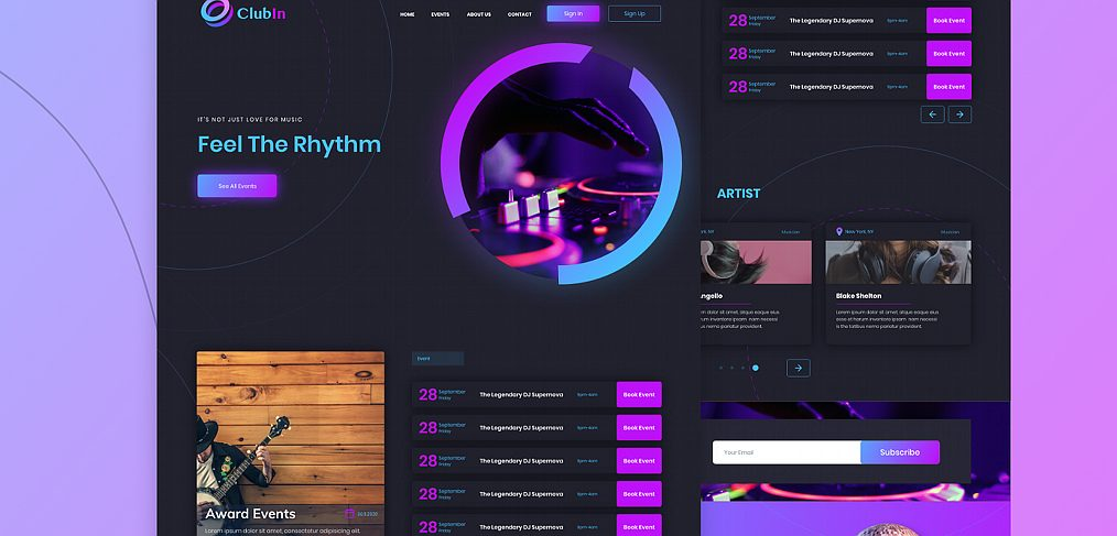 Night club XD website template