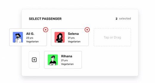 Passenger selection XD animation