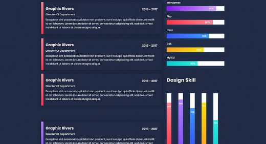 Dark CV resume template for XD