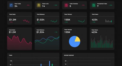 Dark & light free XD dashboard UI kit