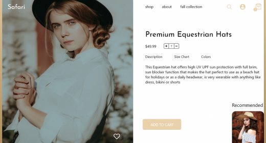 Fashion product page template