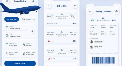 Flight booking app XD freebie