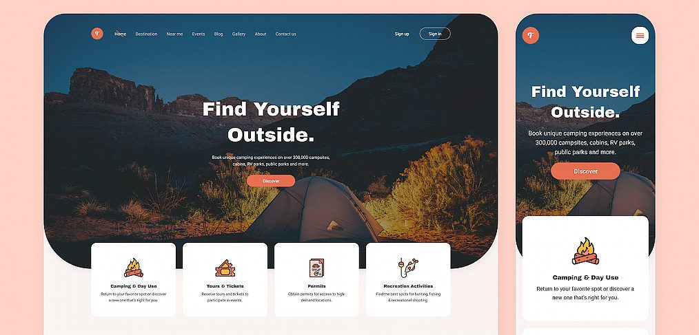 Camping website XD template
