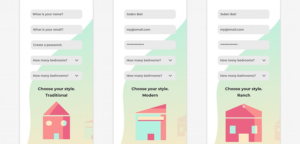 Home finder XD signup template