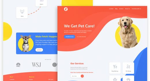 Pet care XD landing page template