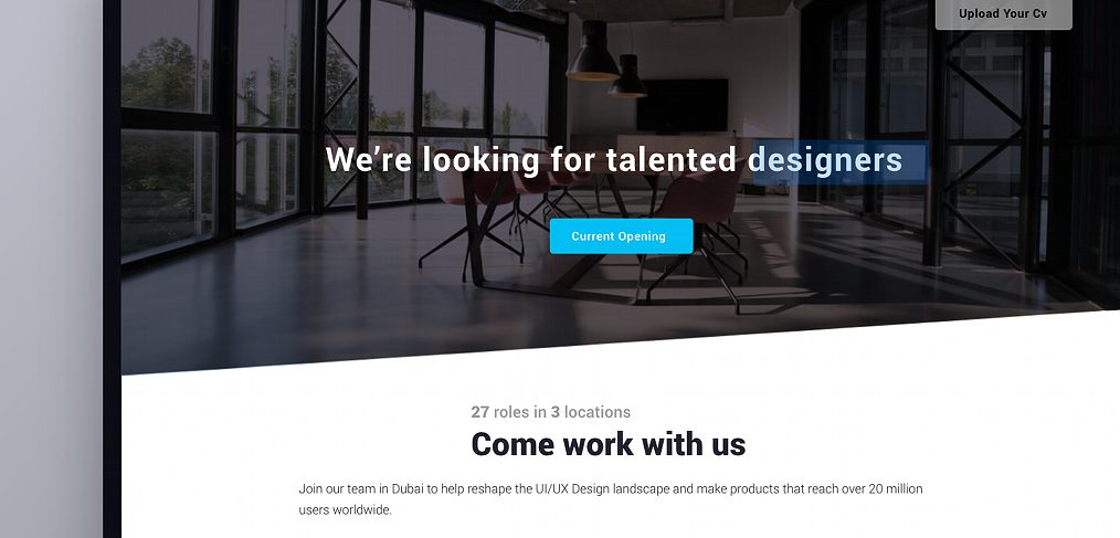 Free XD career page template
