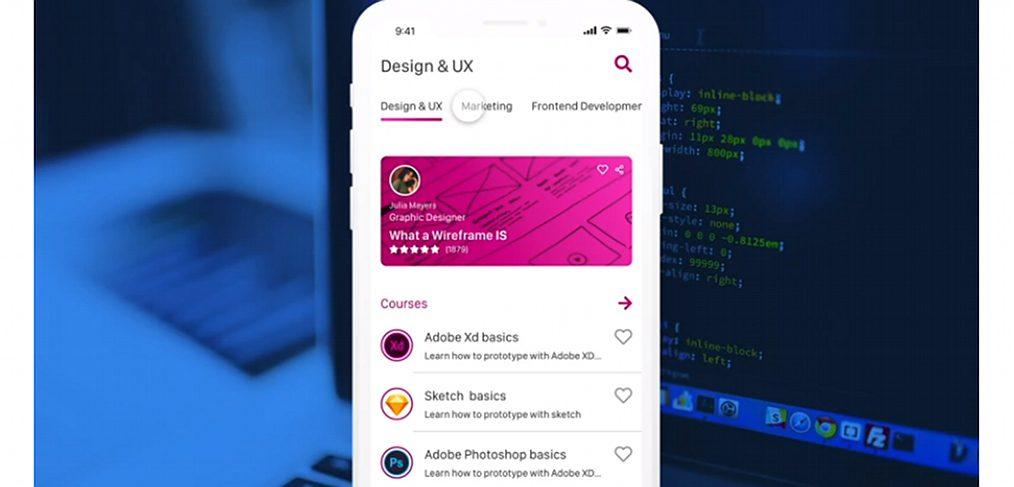Online courses XD app concept