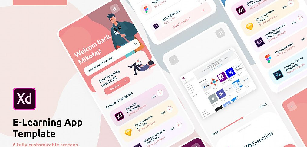 E-learning free XD UI kit
