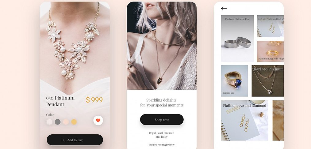 Jewelry shop XD mobile template