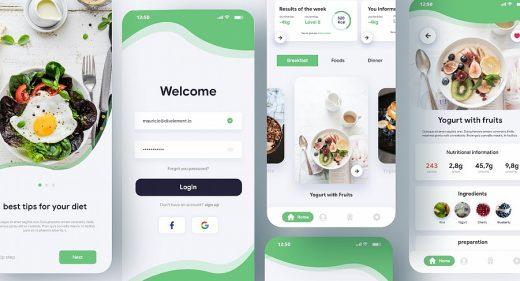 Diet mobile app XD concept
