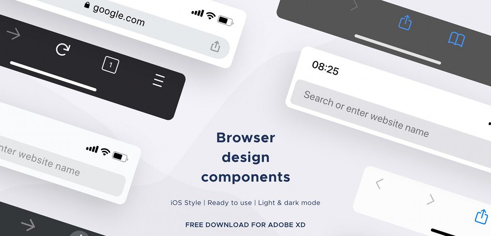 Mobile browser mockups for XD