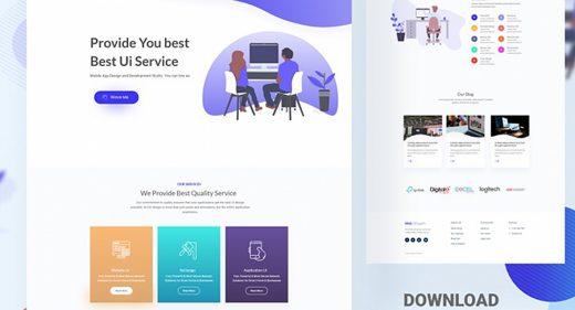 Design agency website XD template