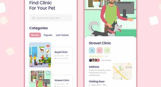 Pet care app XD template