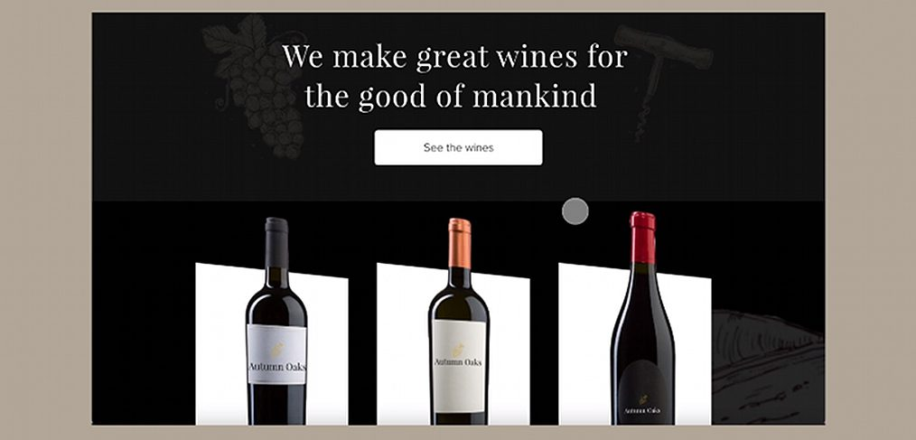 Wine website animation in XD