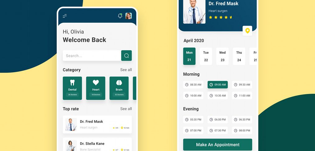 Doctor appointment XD app template