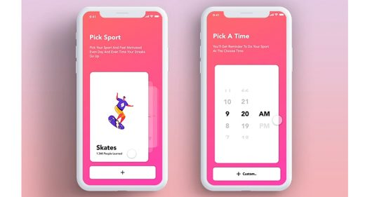 Fitness app Adobe XD interaction