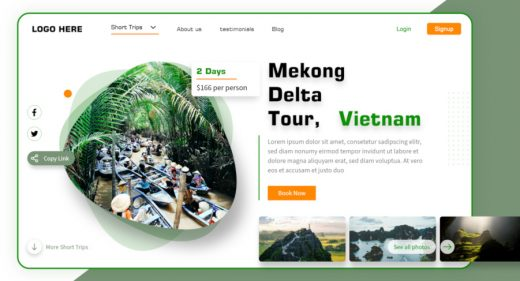 Vietnam travel - XD landing page