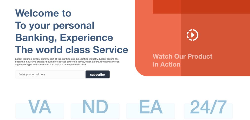 Banking experience landing page