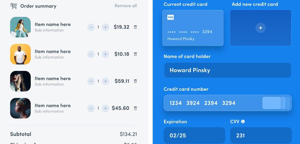 Shopping cart UI screen for XD